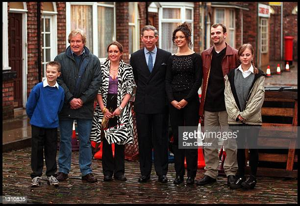 Prince Charles greets cast members from Great Britain''s longest running soap opera Coronation Street December 8 2000 at Granada Studios in...
