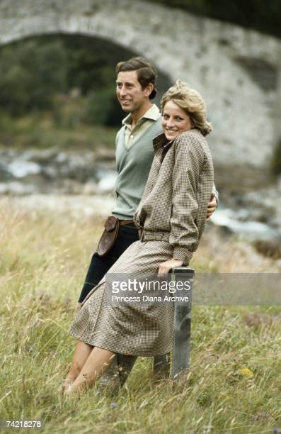 Prince Charles in a kilt and Princess Diana in a suit by Bill Pashley at Balmoral during their honeymoon August 1981