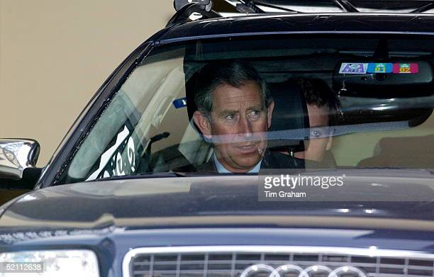 Prince Charles In An Audi Car Being Driven From His Skiing Holiday Back Home After The Death Of His Grandmother