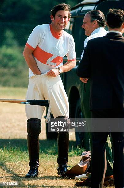 Prince Charles In His Bachelor Days Laughing With His Polo Groom Roger Oliver As He Changes For Polo At The Guards Polo Club Smiths Lawn Windsor