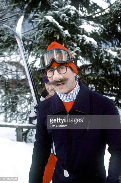 Prince Charles In Klosters Switzerland Wearing A Joke Nose Moustache And Spectacles To Tease The Press At A Photocall During His Skiing Holiday