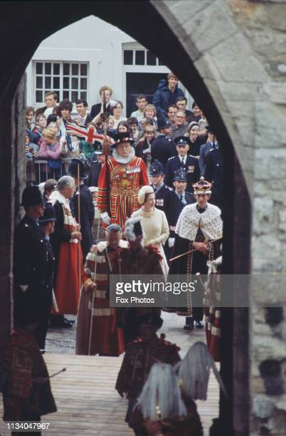 Prince Charles in procession with Queen Elizabeth after the ceremony of his investiture as Prince of Wales at Caernarfon Castle, Gwynedd, Wales, 1st...
