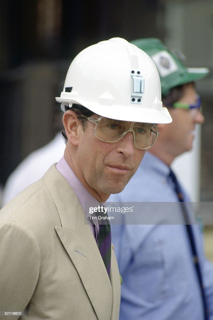 Prince Charles In Protective Builder's Hard Hat And Goggles At Mount Lyell Mining And Railway Company In Queenstown, Australia