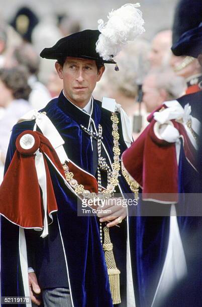 Prince Charles In Robes Of The Order Of The Garter St Georges's Chapel Windsor Castle