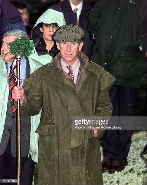 Prince Charles In Slovenia Visiting The Pericnik Waterfall At Pericnik. He Is Wearing A Waxed Coat And Cap.