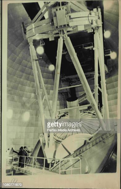 Prince Charles inspects telescope at Siding Springs after inauguration this afternoon He is accompanied by the Chairman of the AngloAustralian...