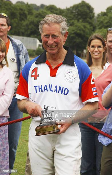 HRH Prince Charles is seen at the Chakravarty Cup Polo match between Team Thailand and Team Dubai played at the Ham Polo Club June 11 2005 in...