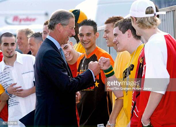 Prince Charles Laughing And Joking With Members Of The Boyband Blazin Squad As He Meets The Stars Performing At The Annual Capital Radio Party In The...