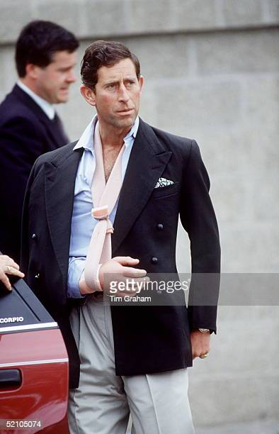 Prince Charles Leaving Cirencester Hospital With His Arm Bandaged And In A Sling Following A Polo Accident