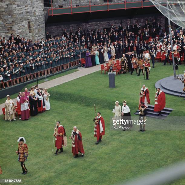 Prince Charles leaving the Upper Ward of Caernarfon Castle after the ceremony of Charles' investiture as Prince of Wales, Gwynedd, Wales, 1st July...