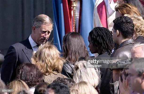 Prince Charles Looking Very Sad Leaving Stpauls After A Memorial Service For The Victims Of The Twin Towers Disaster Is Talking To American Imourners...