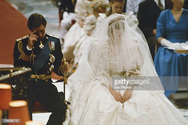 Prince Charles marrying Lady Diana Spencer at St Paul's Cathedral, London, 29th July 1981.