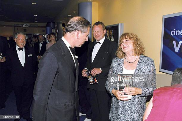 Prince Charles meeting Nerys Hughes at the premiere of 'Final Fantasy' in Cardiff Wales