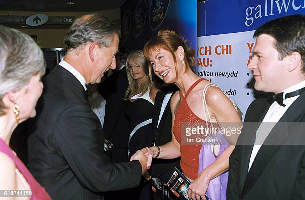 Prince Charles meeting Sian Lloyd at the premiere of 'Final Fantasy' in Cardiff Wales