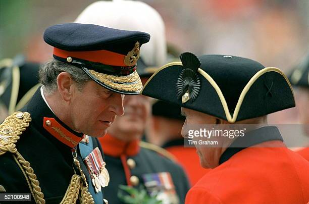Prince Charles Meets A Chelsea Pensioners At The Founders Day Parade At The Royal Hospital, Chelsea, London.