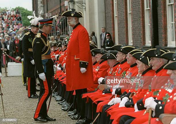 Prince Charles Meets Chelsea Pensioners At The Founders Day Parade At The Royal Hospital, Chelsea, London.