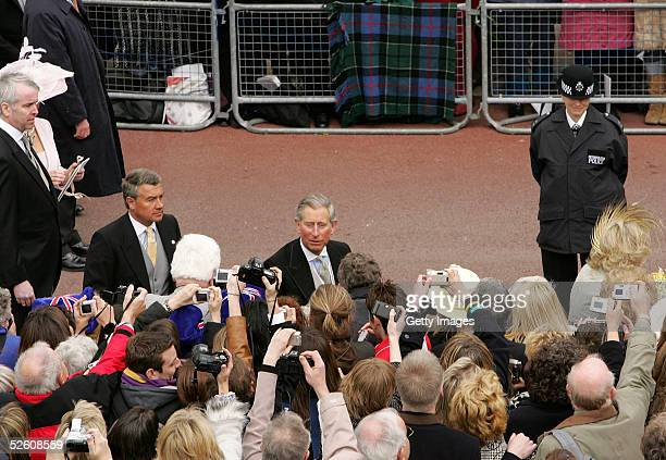 Prince Charles meets the crowd following the Service of Prayer and Dedication after his marriage to Mrs Camilla Parker Bowles at The Guildhall at...