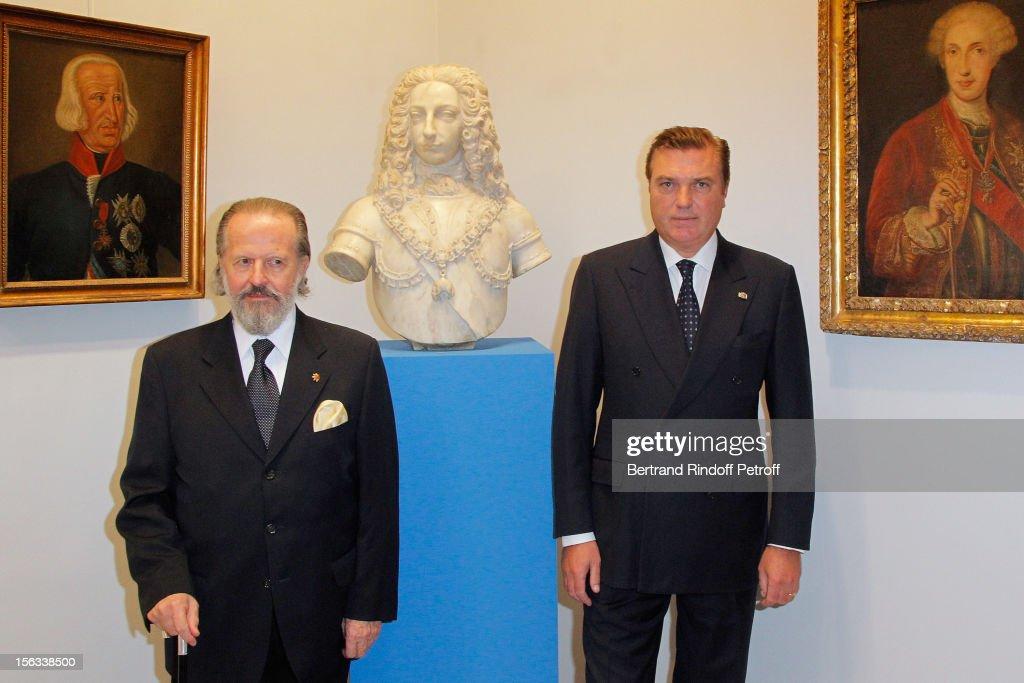 Prince Charles of Bourbon-Two Sicilies (R) and italian financier, ambassador Antonio Benedetto Spada attend the Royal House of Bourbon-Two Sicilies Exhibition on November 13, 2012 in Paris, France.