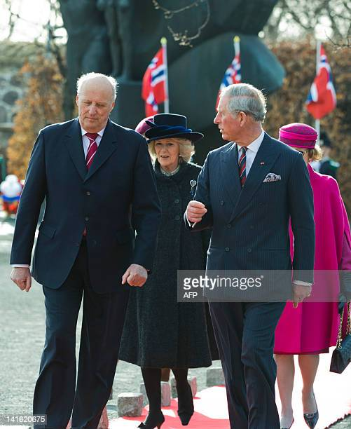 Prince Charles of Britain his wife Camilla Norwegian King Harald arrive for a wreath laying ceremony at the National Monument in Oslo on March 20...
