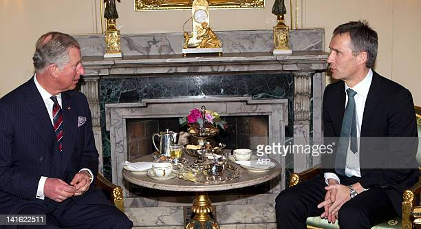Prince Charles of Britain holds a meeting with Norwegian prime minister Jens Stoltenberg in Oslo on March 20 2012 Prince Charles and his wife Camilla...