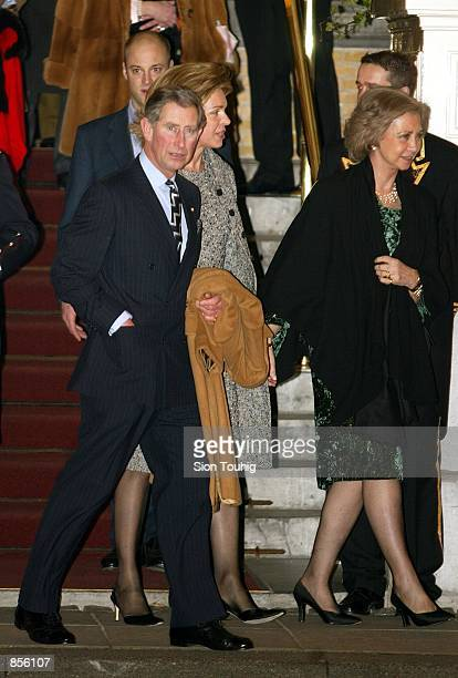 Prince Charles of Britain Queen Noor of Jordan and Queen Sofia of Spain are on the way to wedding celebrations January 31 2002 in Amsterdam...