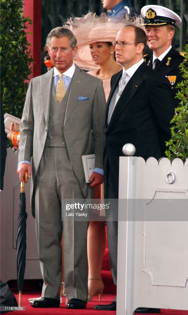 Prince Charles of England and Albert of Monaco during Royal Wedding Between Prince Felipe of Spain and Letiza Ortiz at Alumudena Cathedral in Madrid, Spain.