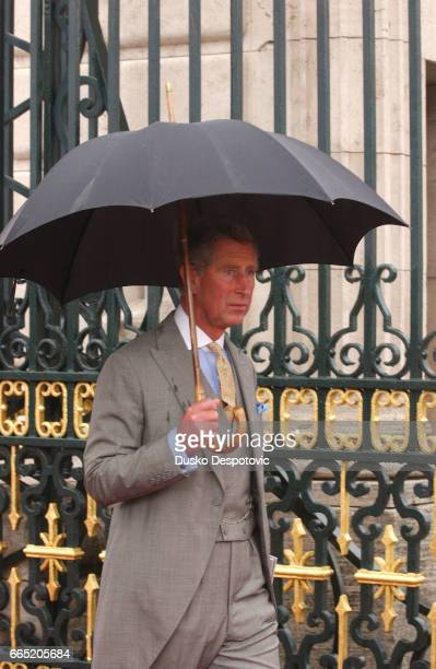 Prince Charles of England leaves the Almudena Cathedral after the wedding ceremony of Prince Felipe of Spain and Letizia | Location Madrid Spain