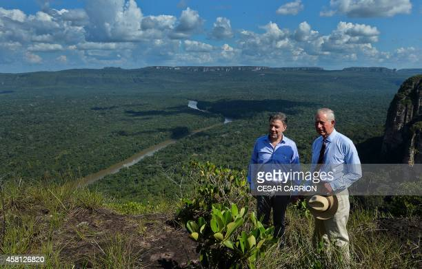 Prince Charles of Wales and Colombian President Juan Manuel Santos visit the National Park of Chiribiquete in the Department of Guaviare Colombia on...