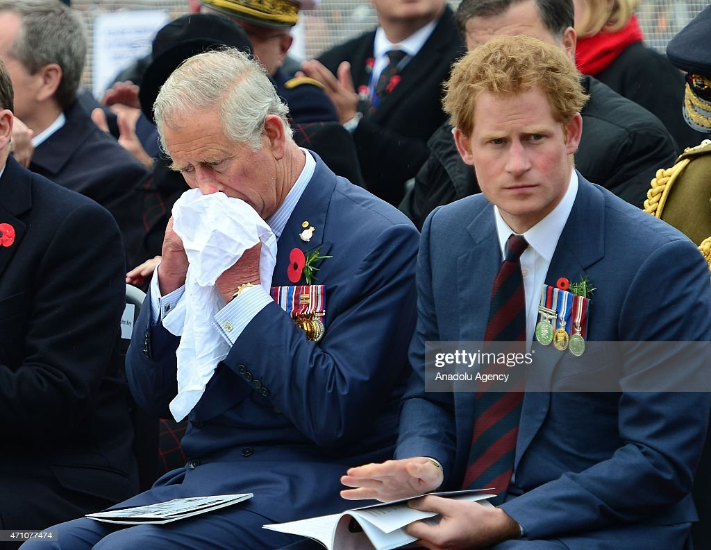 Prince Charles of Wales (L) and Prince Harry (R) attend a memorial service at the New Zealand National Memorial on the occasion of the 100th anniversary of Canakkale Land Battles on Gallipoli Peninsula in Canakkale, Turkey on April 25, 2015.