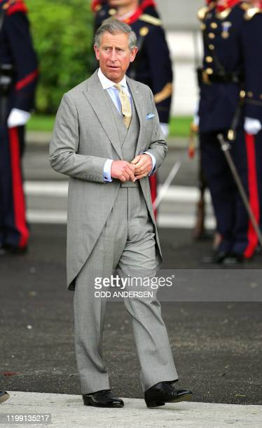 Prince Charles of Wales arrives at Madrid's Almudena Cathedral to attend Spanish Crown Prince Felipe of Bourbon's wedding to former journalist...