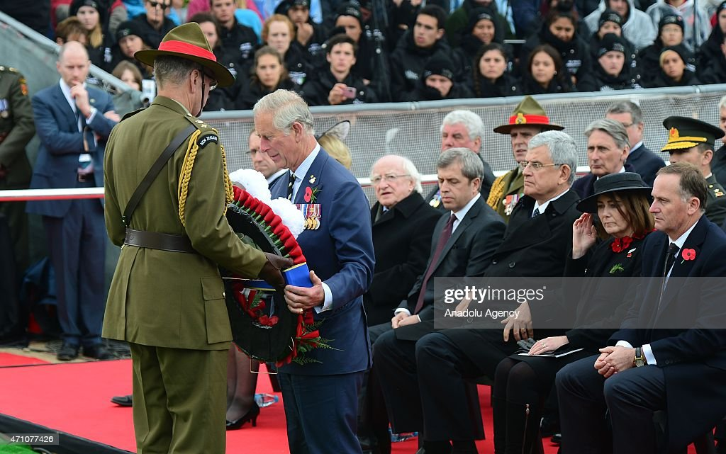 Prince Charles of Wales (2nd L) holds a wreath to place to the monument during a memorial service at the New Zealand National Memorial on the occasion of the 100th anniversary of Canakkale Land Battles on Gallipoli Peninsula in Canakkale, Turkey on April 25, 2015.
