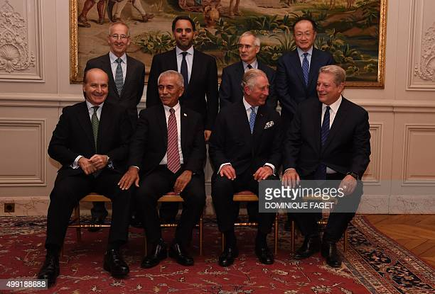 Prince Charles of Wales poses with Great Britain's ambassador to France Sir Peter Ricketts chariman of Qatar Food Security program Fahad AlAttiya...