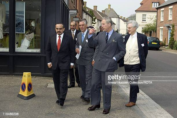 Prince Charles on a visit to Poundbury in Dorset with His Highness the Crown Prince of Bahrain