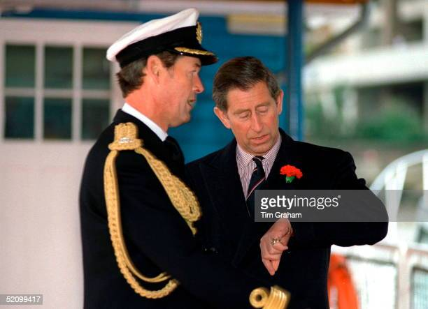 Prince Charles On His 49th Birthday Waiting For The Queen On Tower Pier For A Lunch On Hmy Britannia Next To Tower Bridge In The Pool Of London.with...