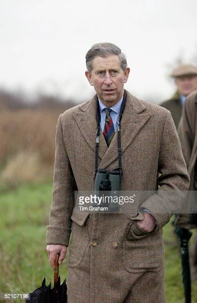 Prince Charles Patron Of The Wildlife Trusts Visiting The Norfolk Wildlife Trust Hickling Broad Norfolk Walking With Binoculars