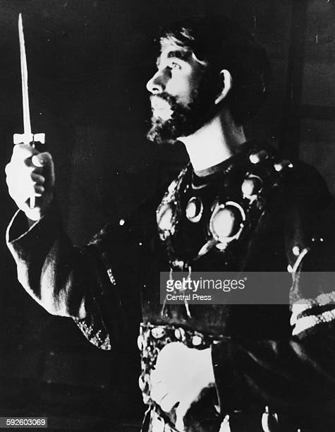 Prince Charles pictured acting in the dagger scene as 'Macbeth' in the Shakespeare play of the same name during a production at Gordonstoun School...