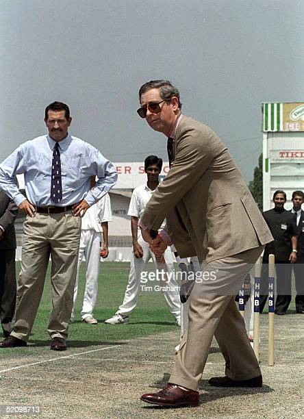 Prince Charles Playing Cricket At The Singhalese Cricket Club Colombo Being Watched By Legendary British Batsman Graham Gooch