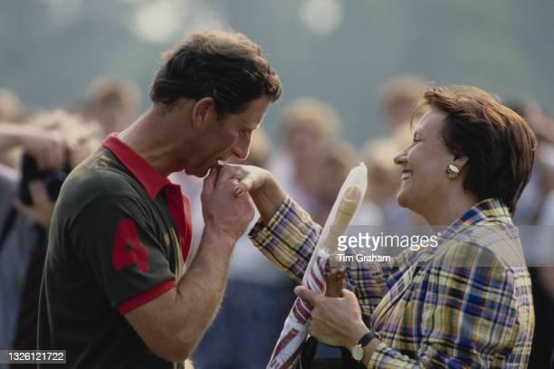 Prince Charles plays polo at Cirencester, UK, 21st May 1989.