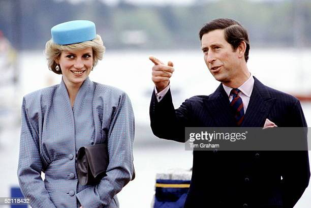 Prince Charles Pointing To Show Princess Diana During A Royal Tour Of Canada.