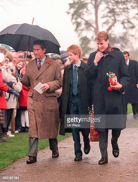 KINGDOM DECEMBER 25 Prince Charles Prince Harry and Prince William attend the annual Christmas Day service at Sandringham Church on December 25 1998...