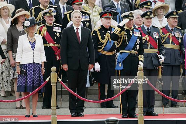 Prince Charles Prince of Wales accompanied by Camilla Duchess of Cornwall and the British Prime Minister Tony Bair takes the salute at the Falklands...
