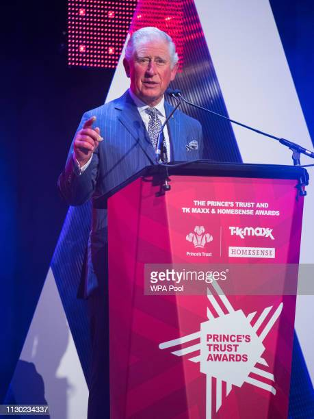 Prince Charles Prince of Wales addresses the audience during the annual Prince's Trust Awards at the London Palladium on March 13 2019 in London...