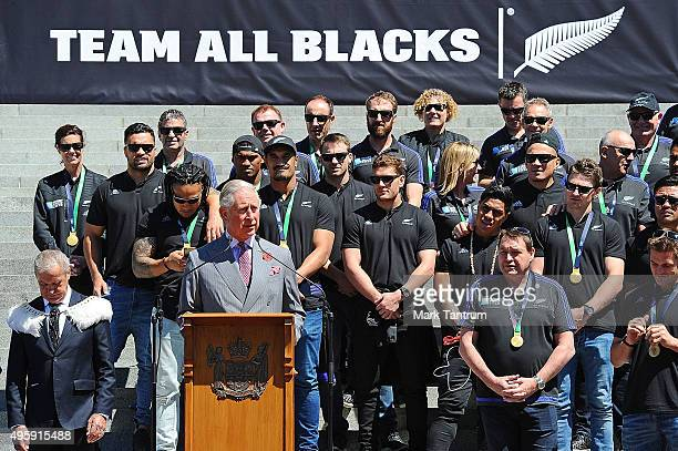 Prince Charles Prince Of Wales addresses the crowds at Parliament before the All Blacks parade during the New Zealand All Blacks Welcome Home...