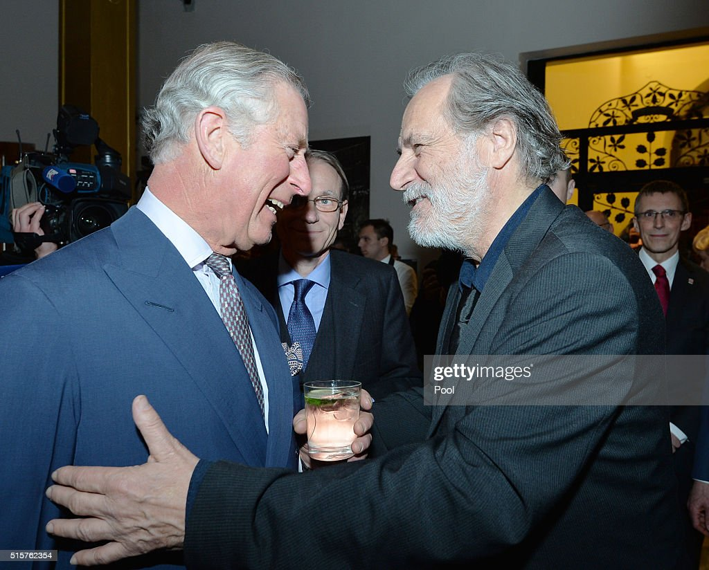 Prince Charles, Prince of Wales and actor Rade Serbedzija speak during a reception for the British Council at the Arts and Crafts Museum on March 15, 2016 in Zagreb, Croatia. The Prince and the Duchess are on the second day of a two day visit to Croatia.