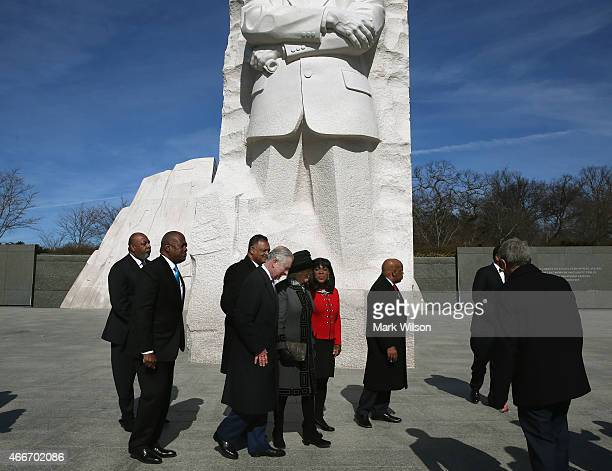 Prince Charles Prince of Wales and and his wife Camilla Duchess of Cornwall visit the Martin Luther King Jr Memorial March 18 2015 in Washington DC...