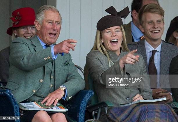 Prince Charles Prince of Wales and Autumn Phillips attend the Braemar Gathering on September 5 2015 in Braemar Scotland There has been an annual...