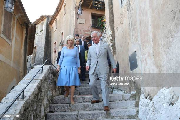 Prince Charles Prince of Wales and Camilla Duchess of Cornwal visit Eze Village on May 7 2018 in Eze France Prince Charles Prince of Wales and...
