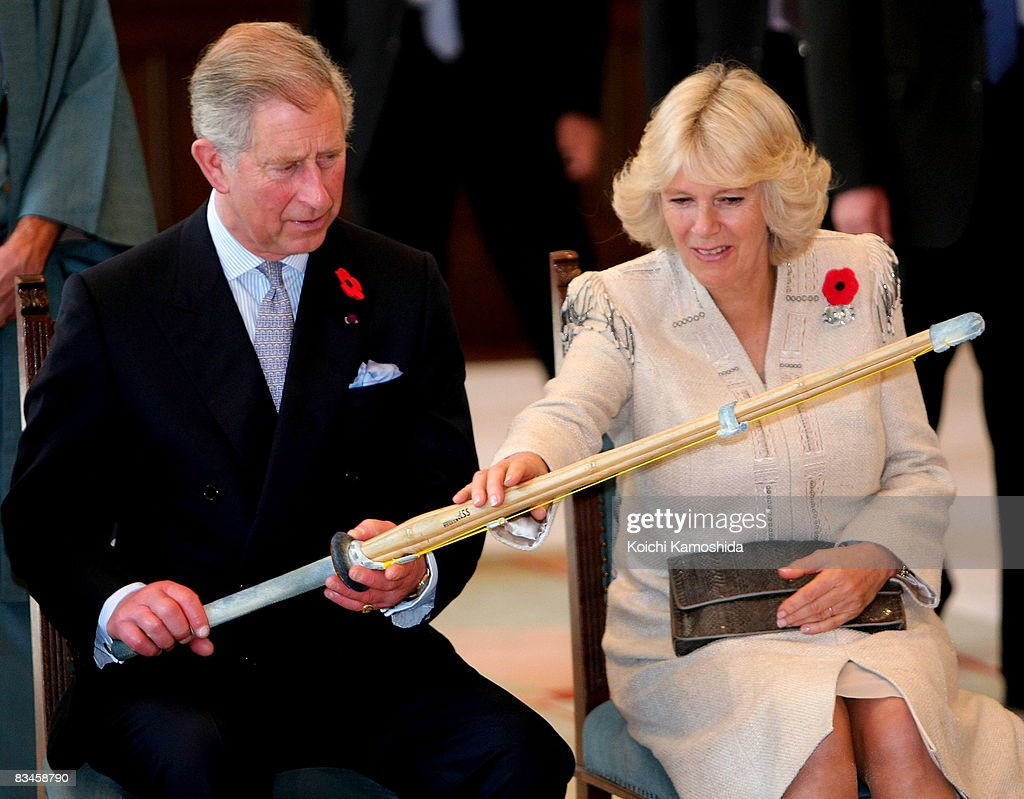 Prince Charles, Prince of Wales and Camilla, Duchess of Cornwall inspect a the bamboo sword used in a students' kendo performance at Keio University on October 28, 2008 in Tokyo, Japan. The Prince and the Duchess are in Japan to celebrate the 150th anniversary of diplomatic relations with the United Kingdom.