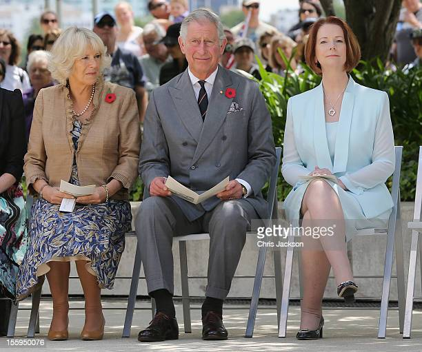 Prince Charles Prince of Wales and Camilla Duchess of Cornwall and Australian Prime Minister Julia Gillard attend the naming of Queen Elizabeth...