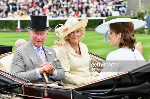 Prince Charles Prince of Wales and Camilla Duchess of Cornwall and Princess Eugenie attend day 1 of Royal Ascot at Ascot Racecourse on June 19 2018...